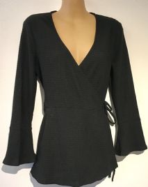 TOPSHOP MATERNITY/NURSING BLACK TEXTURED WRAP LONG SLEEVED TOP SIZE 10
